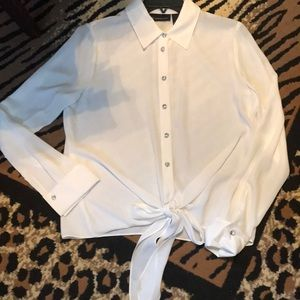 INC white blouse with crystal buttons